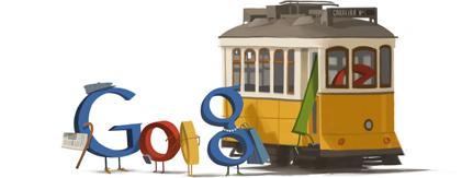 Lisbon Tram 110th Anniversary 2011 hp Doodle: 110º Aniversário da Inauguração da Primeira Linha de Carros Elétricos em Portugal