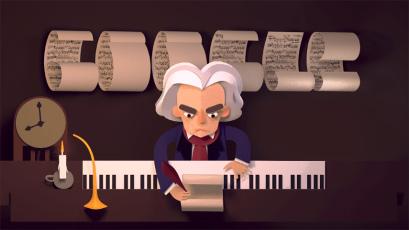 Doodle de comemoração do 245º Ano de Ludwig van Beethoven