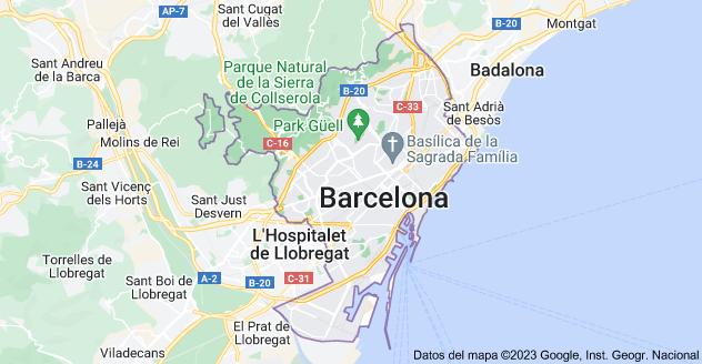 Mapa de Barcelona, España